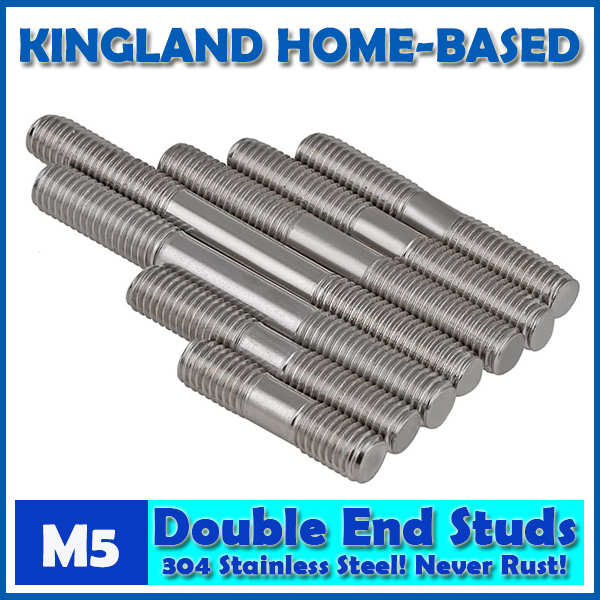 M5 Double End Studs 304 Stainless Steel Double End Thread Tight Adjustable Push Rod Stud Screw Bolt Silver Ton