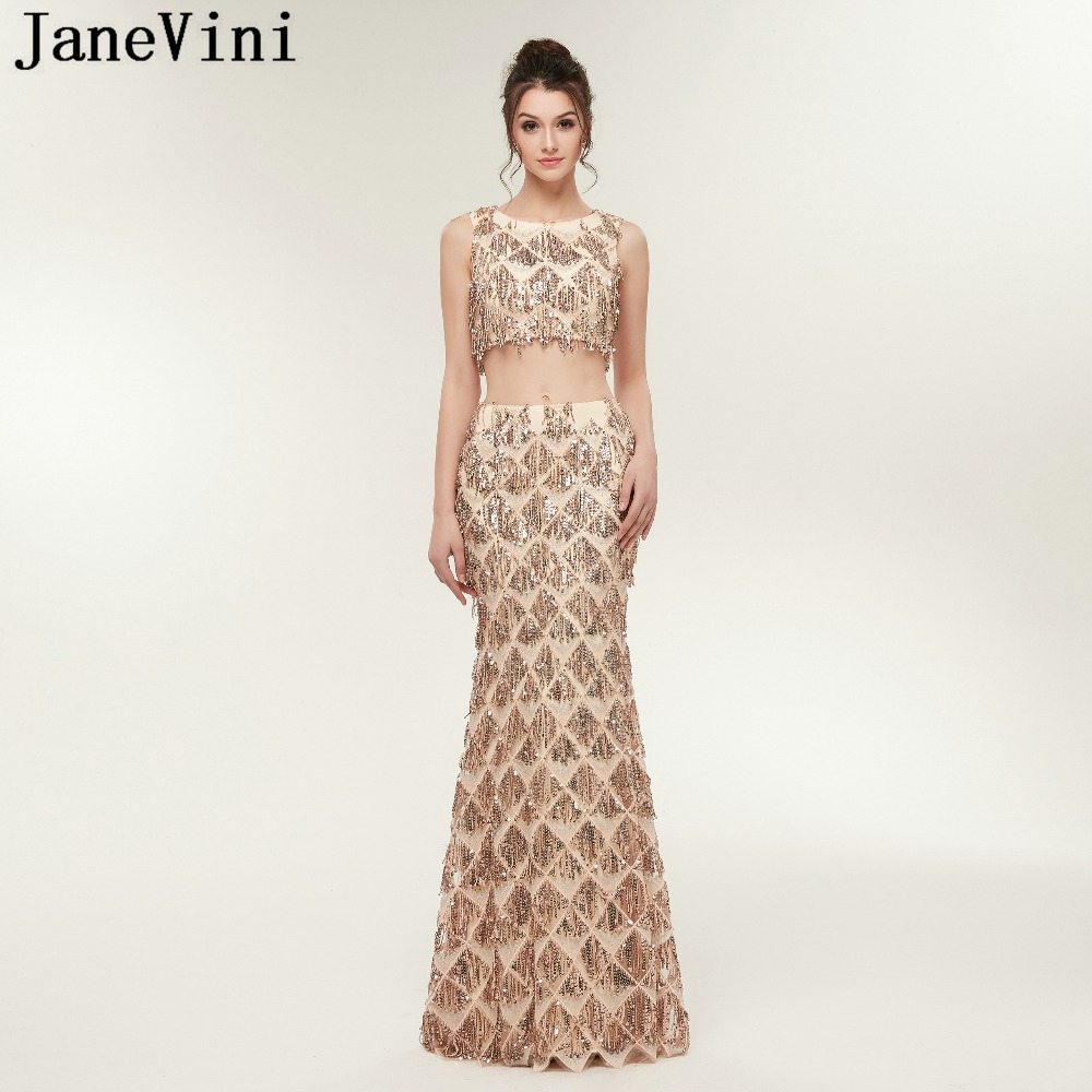 JaneVini Champagne Gold Two Piece Sparkly Prom Dresses O Neck Sleeveless Sequined Tassel Mermaid Prom Gowns Vestidos Compridos