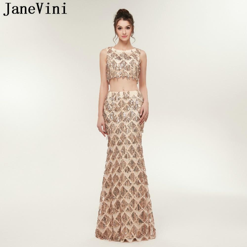 JaneVini Champagne or deux pièces Sparkly robes de bal O cou sans manches paillettes gland sirène robes de bal Vestidos Compridos