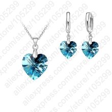 PATICO One Set  Austrian Crystal 925 Sterling Silver Jewelry Heart Pendant Necklaces Lever Back Earrings Woman Accessories Gift