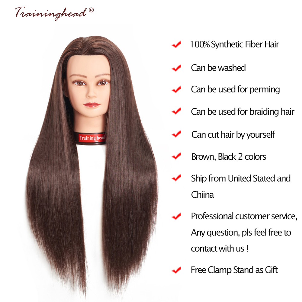 Traininghead 26-28″ Mannequin Head 100% Good Synthetic Fiber Hair Professional Bride Hairdressing Cosmetology Doll Training Head