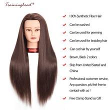 """Entrenamiento 26-28 """"Cabeza de maniquí 100% buena fibra sintética de pelo profesional novia peluquería cosmetología cabeza de entrenamiento de muñeca"""