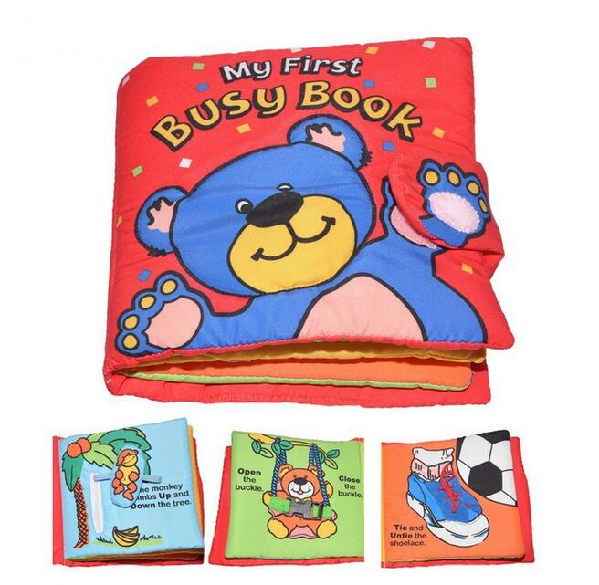 Candice guo baby toy soft cloth multi-touch ted bear my first busy book learn how to dress button tie shoes hand work gift 1pc sara gillingham busy baby trucks