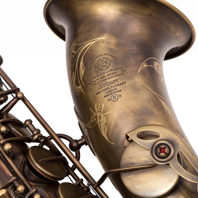 Francese Sassofono Tenore Mark VI Bronzo Sassofono Tenore Strumenti Musicali Professionale di Rame Antico Caso di Simulazione Incluso