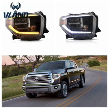 VLAND Factory for Car head lamp for Tundra Headlight 2014-UP for Full LED Head light turning signal with sequential indicator