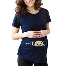Womens Fashion T-Shirts Baby Print Maternity Shirt Cotton Funny Maternity Shirts Gravida Top Pregnancy Clothing Tees Casual(China)