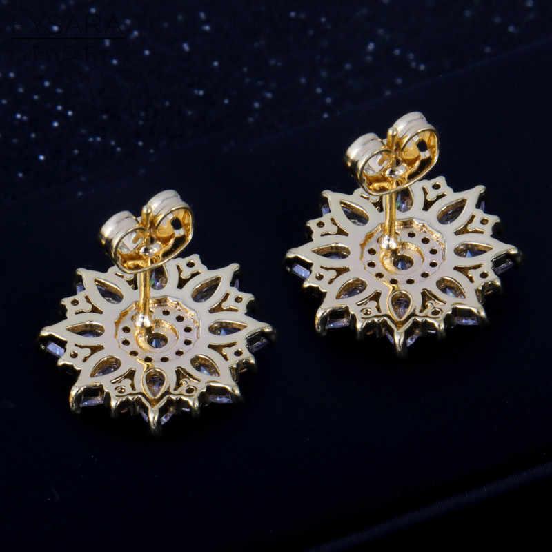 FYSARA Elegant AAA Zirconia Flower Rhinestone Earrings Women Love Earrings Fashion Jewelry Wedding Brinco Girl Wholesale