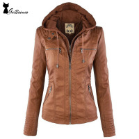 Women's Suede Jackets Zip Closure Long Sleeve Drawstring Hooded Jackets