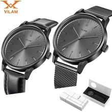 Mens Relojes de Primeras Marcas de Lujo Relojes de Moda masculina reloj de Cuarzo correa de malla de Acero inoxidable Ultra Delgado reloj de pulsera con el regalo caja