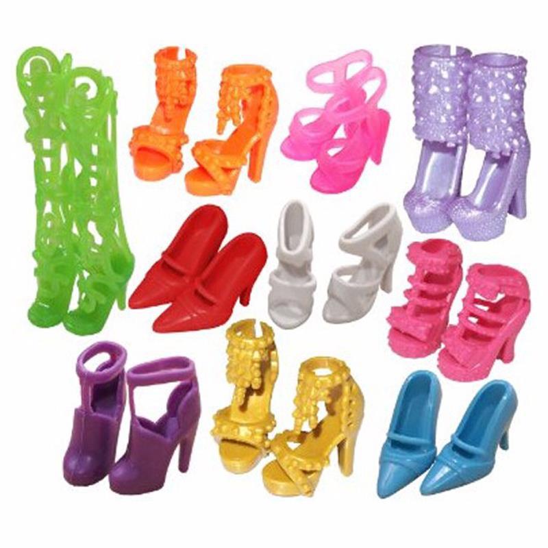 10 Pair Fashion Doll Shoes Heels Sandals For Barbie Dolls Accessories Et017