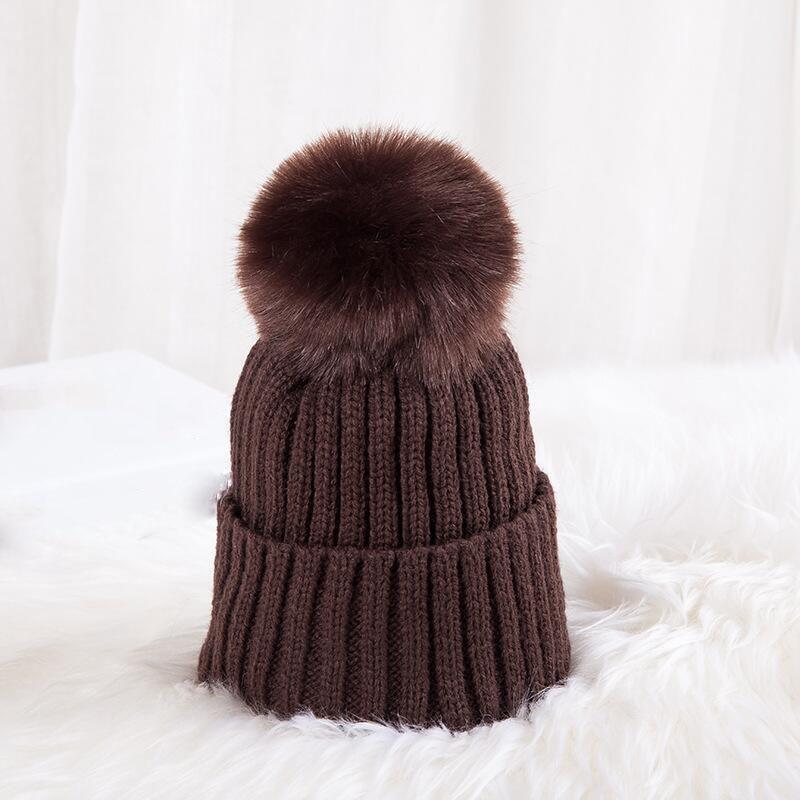 Candies Color Pompom Hat Boy Winter Caps Knitted Wool Cotton Hats Faux Fur Pom Poms Skullies Beanies Bonnet Girls Children Cap
