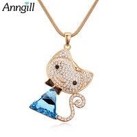 Anngill длинные цепочки кристаллов от swarovsk Cat Цепочки и ожерелья ослепительно кулон очарование ювелирный бренд для Для женщин девушка животных...