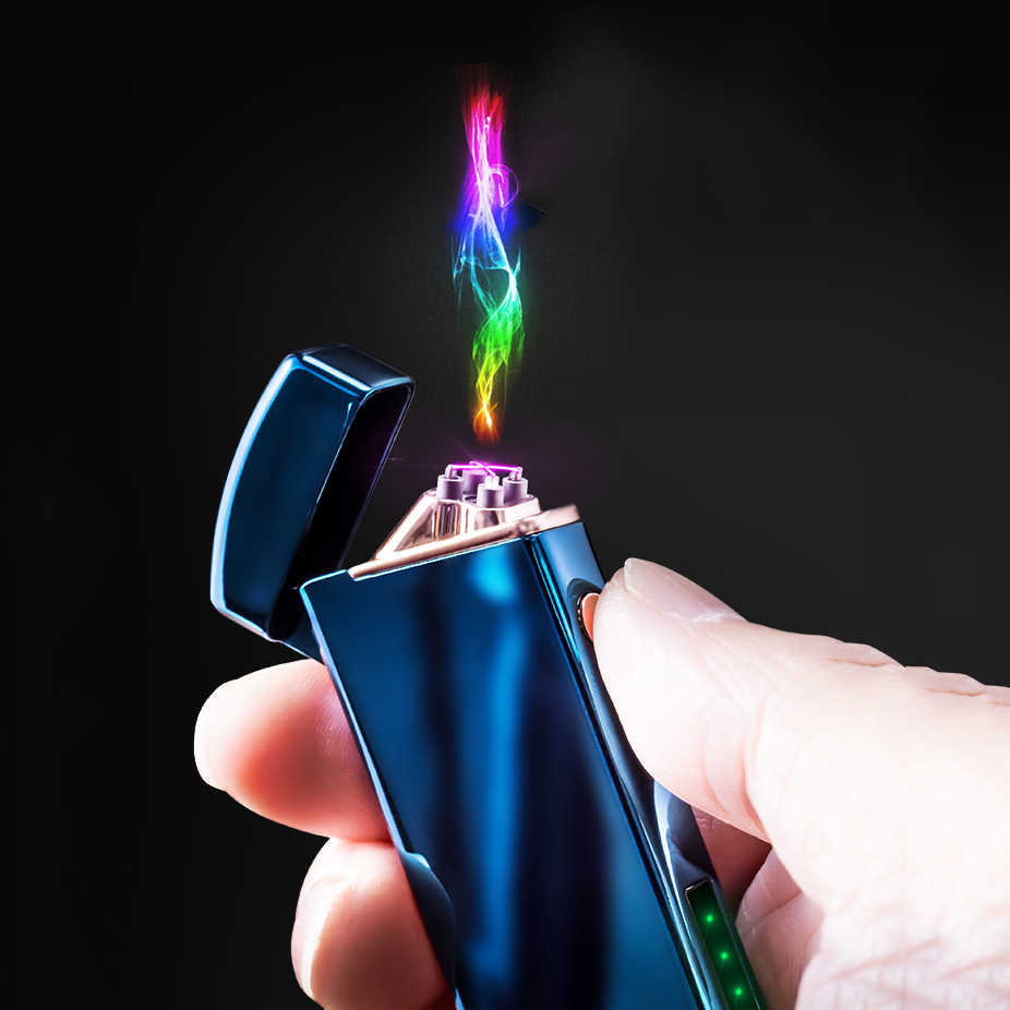 Dual Arc Electronic Cigarette Lighter USB Metal Rechargeable Windproof Flameless Electric Lighters Plasma Cigar Lighter