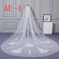 ZYLLGF Voile De Mariee Long Tulle Cathedral Veil Wedding 3M Veils For Wedding Bride 2019 With Appliques BL29