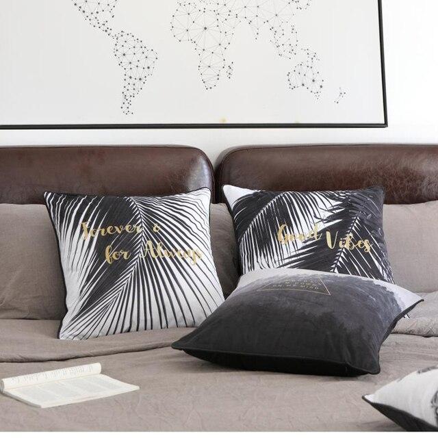 Gold Christmas Cushion Covers Pillow Case Decorative Sofa Plant Palm Leaves Black White