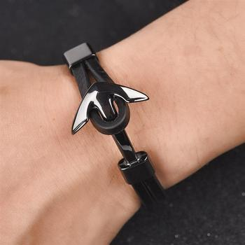 Bracelet En Cuir Ancre Homme