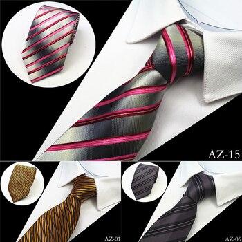 JEMYGINS Striped Classic Neck Mens Silk Ties