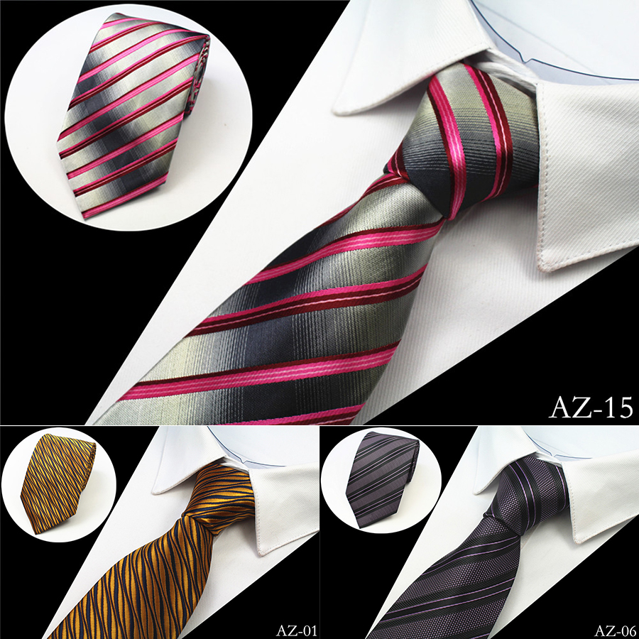 JEMYGINS New Design 100% Silk Men Tie 8cm Striped Classic Business Neck Tie För Men Suit För Bröllopsfest Slips Factory Sale