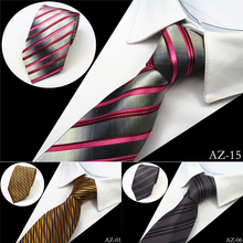 Ricnais New Design 100% Silk Men Tie 8cm Striped Classic Business Neck Tie For Men Suit For Wedding Party Necktie Factory Sale
