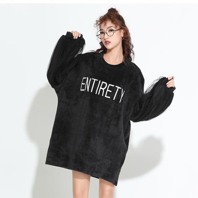 [Soonyour] 2017 primavera de moda de nova carta bordado gaze divisão conjunta de manga sopro o-pescoço pullovers mulher big size as197907