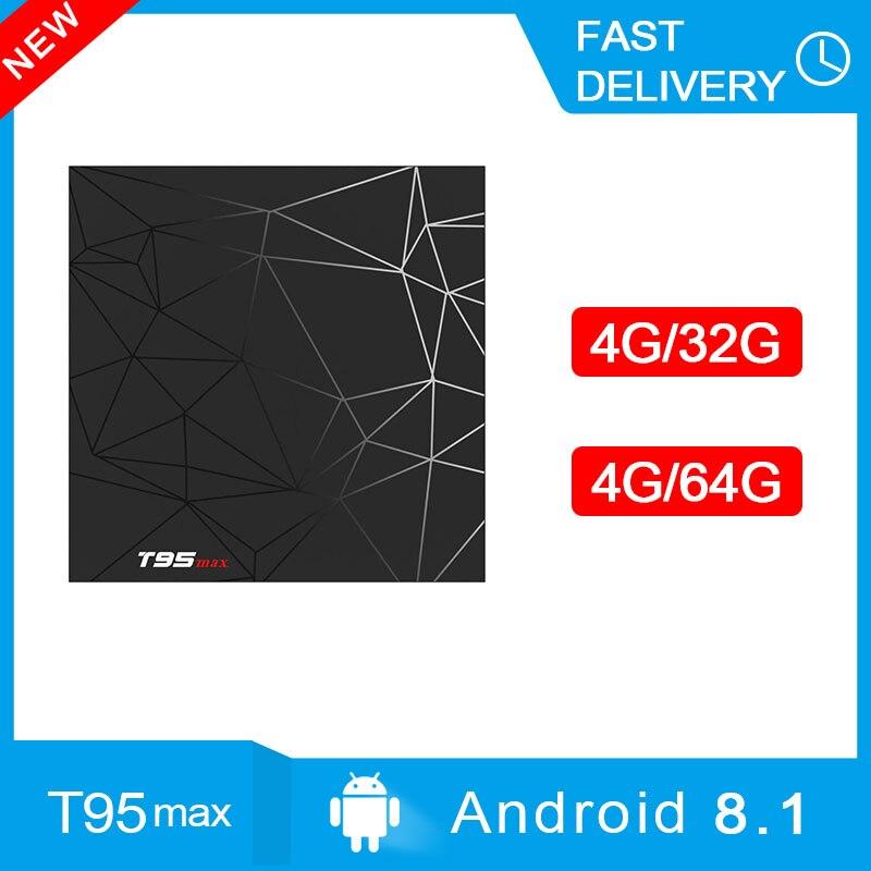 T95 MAX TV Box Android 8.1 4 GB 32 GB 64 GB télévision intelligente préfixe Rockchip 1080 P H.265 4 K netflix lecteur multimédia PK X96 MAX