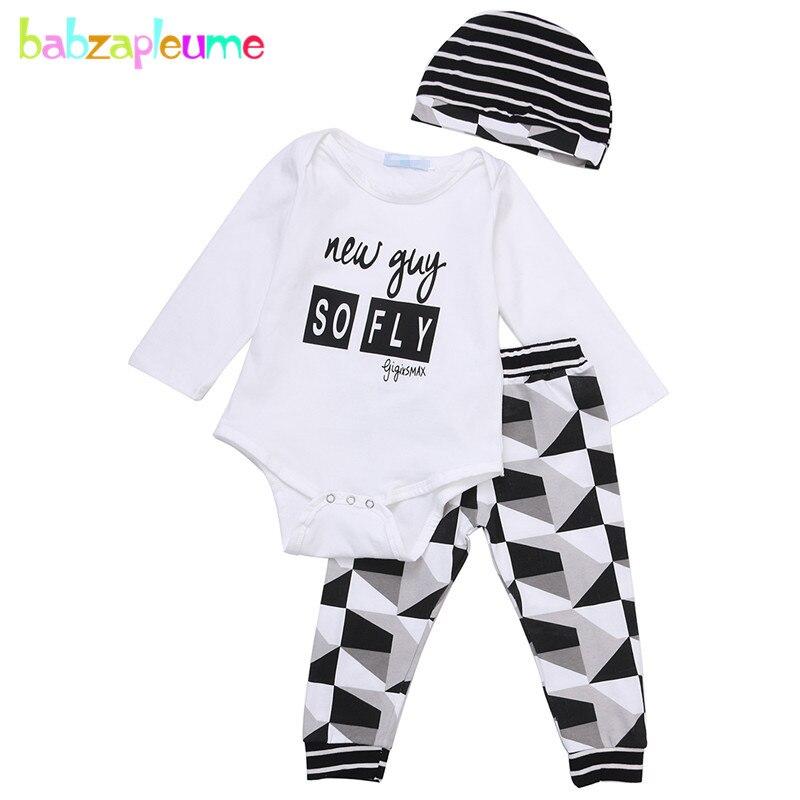 Одежда для малышей, комплект из 3 предметов высокое Качественный хлопок детская одежда комбинезон + штаны + шляпа Для мальчиков ясельного во...