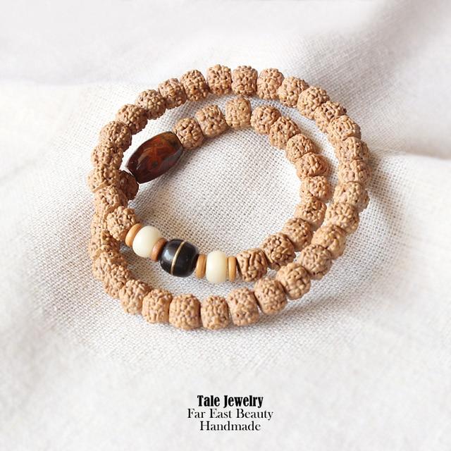 2016 New Tale Design Tibetan Buddhism Prayer Mala Beads Natural Rudraksha Bracelet For Men Women Handmade Ethnic Beaded Jewelry