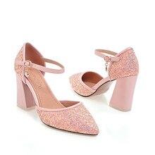 6c7bb39cf0 NEMAONE ouro branco rosa preto bling do verão Mulheres Bombas Senhora Do  Escritório sapatos de Salto