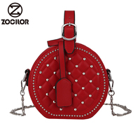 Fashion Circular Design rivet Women Shoulder Bag Leather Women's Crossbody Bag Messenger Bags Ladies Purse Female Round Handbag