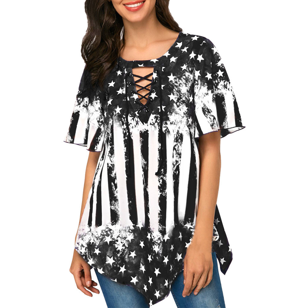 Independence Day Printed Women Blouse Plus size V Neck Asymmetrical hem Tops Loose Tunic summer Blouses Femme Shirt blusas 1