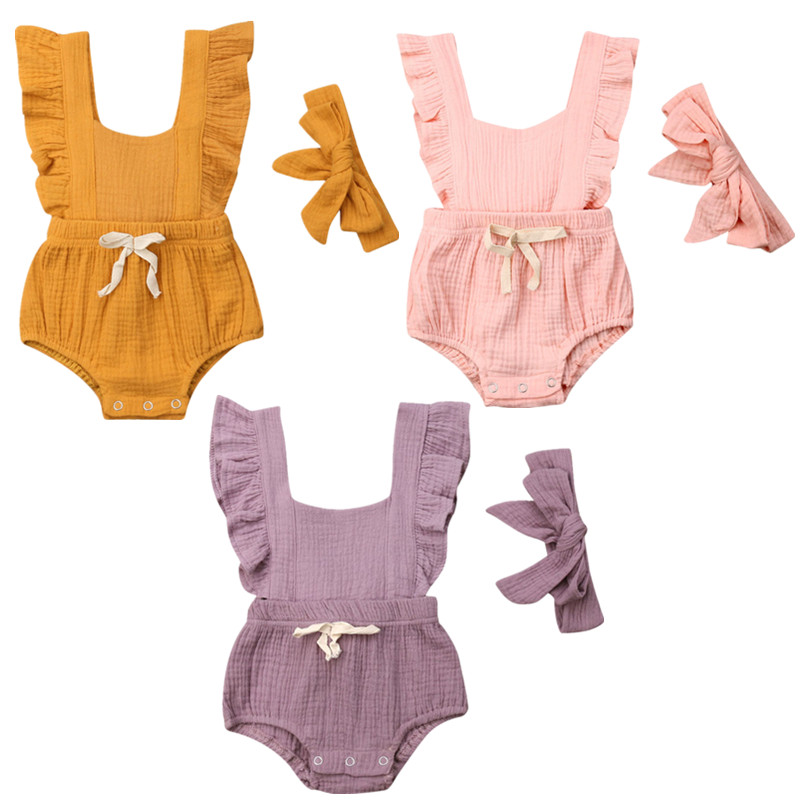 Baby Girls   Rompers   Cotton Ruffle   Romper   +Headband 2PCS Outfits Jumpsuits For Girls Newborn Girls Clothes