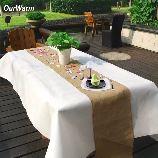 OurWarm 10m X 33cm Tablecloth Retro Wedding Decoration Jute Burlap Roll For Banquet Party Supplies Home