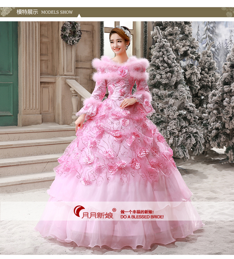 Medieval Renaissance Gown pink feather shawl collar dress event Costume Victorian Gothic Marie Antoinette Colonial Belle Ball