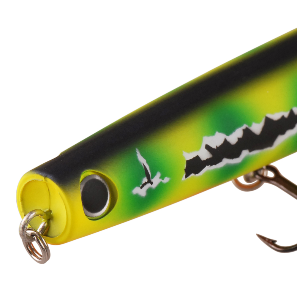 TAF 115mm 22g Hot Popper Fishing Lure Top Water ABS Plastic Hard Bait Equipped with 2 France VMC Hooks Carp Fishing Lure Tackle in Fishing Lures from Sports Entertainment
