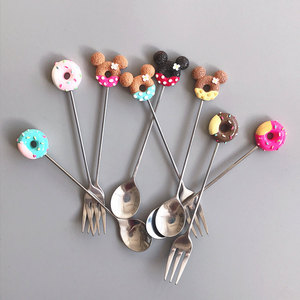Candy Small Mini 304 Stainless Steel Doughnut Donuts Coffee Spoon Fruit Fork Stirring Spoon Teaspoon Dessert Tea Spoon Tableware(China)