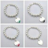1:1 100% sterling silver 925 original classic popular simple fashion heart shaped logo bracelet jewelry love gift