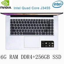 P2-25 6G RAM 256G SSD Intel Celeron J3455 NvIDIA GeForce 940M Gaming laptop keyboard and OS language available for choose