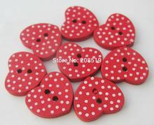 WBNGLL red buttons 120 pieces 13mm*15mm love heart wooden with polka dots printed decorative accessories