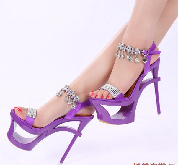 8ecd16bcfc28 MANMIT4-Free shipping Korean new vogue Adult purple summer heels women  rhinestone sandals girls fashion sexy platform shoes 15cm