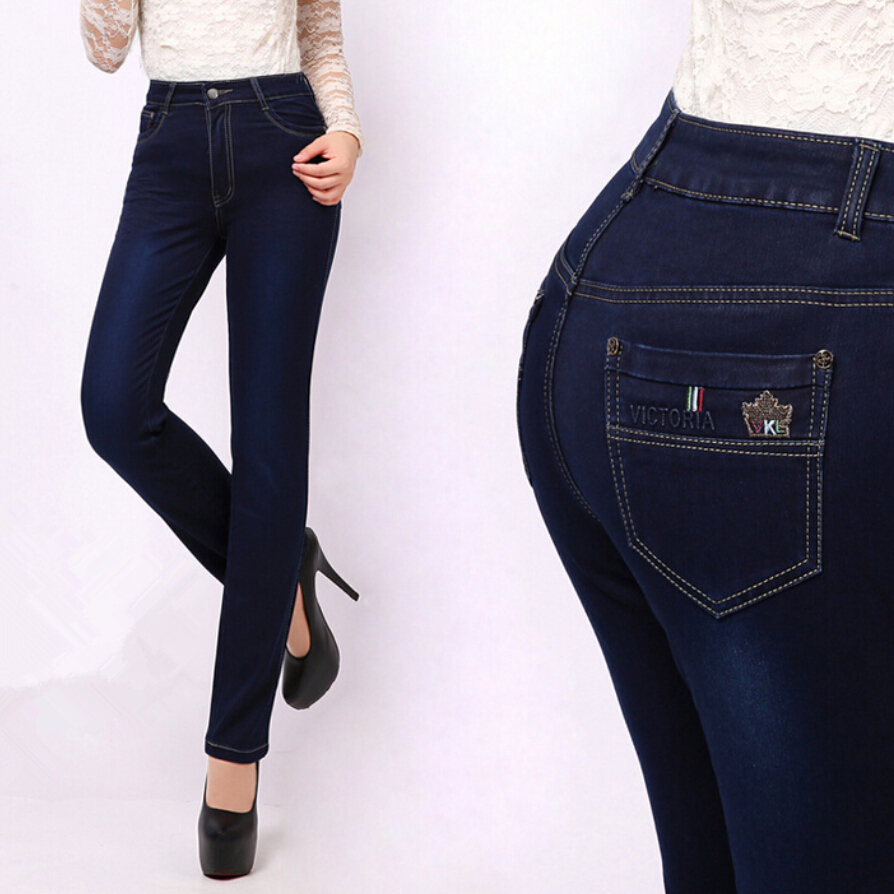 27-38 Size Autumn Brand Jeans Femme Slim Straight High Waist Cotton Plus Size Denim Jean ...