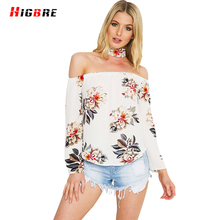 New Casual Beach Tops Girl Female Sexy Off Shoulder Blouse Shirts Loose Halter Blouse Women Long Sleeve 2017 Summer Print Flower