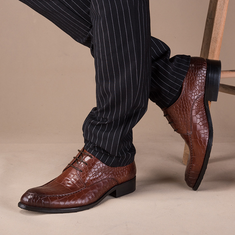 Мужские туфли в деловом стиле из натуральной кожи; Мужские модельные туфли; Мужская Роскошная обувь из воловьей кожи; Мужская Дизайнерская ... - 4