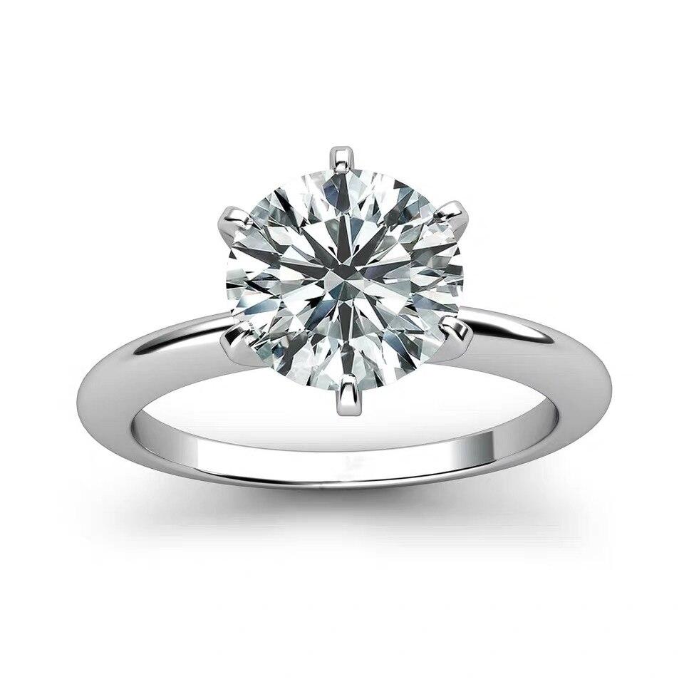 925 bague en argent sterling 1ct 2ct 3ct style classique bijoux en diamant Moissanite anneau de mariage fête anniversaire bague pour les femmes