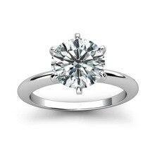925 srebro pierścionek 1ct 2ct 3ct klasyczny styl diamentowa biżuteria Moissanite pierścionek wesele pierścionek jubileuszowy dla kobiet