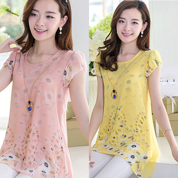 Women Ladies Floral Sweet Print Long Top Tee Shirt Tops Chiffon Blouse Plus Size S-XXL