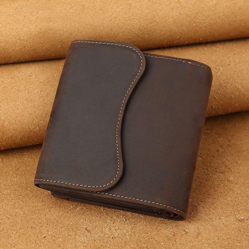 RU&BR Crazy Horse Leather Wallets Vintage Mens Wallet Leather Genuine Casual Cowhide Dollar Purse Wallet Men Top Quality Clutch men vintage wallet pu leather dollar