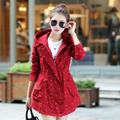 New Autumn 2016 Women Trench Coat Medium Long Elegant Hooded Outwear Slim Waist Dot Print Trench OL Outwear Causal Windbreaker