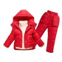 Дети девушки наборы зимней одежды пальто + брюки водонепроницаемый снег 8 год горячая 2 детская одежда 5 цвета