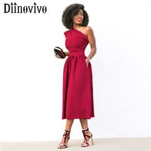 2af77babcefd8 Kadın Zarif Akşam Parti Elbise Kolsuz Bir Omuz Seksi Kadın Elbise Cepler yaz  elbisesi Kırmızı Siyah
