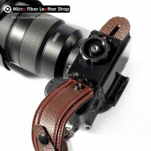 Image 4 - תמונה מצלמה מיקרו סיבי עור רצועת יד DSLR יד חגורת מחזיק עמיד הלם רצועות עבור Canon Nikon Sony Pentax לייקה